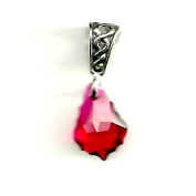 Gift Boxed Baroque Ruby Celtic Pendant Sterling Silver. Crystal Jewellery