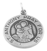 Sterling Silver One Sided Saint Anthony Pray for Us Disc Charm