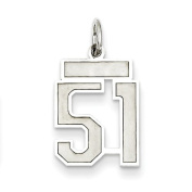 Sterling Silver Small Satin Number 51, Best Quality Free Gift Box Satisfaction Guaranteed
