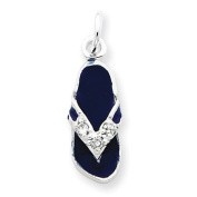 Sterling Silver CZ and Blue Enamelled Flip Flop Charm. Metal Wt- 1.5g