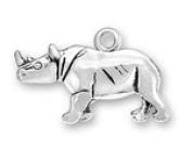 Sterling Silver Rhinoceros Charm with Split Ring #3918