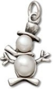 Sterling Silver Pearl Snowman with Scarf Charm with Split Ring #45133