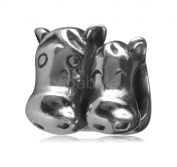 .925 Sterling Silver Charm Two-Loving-Horse Bead Fits Pandora, Biagi, Troll, Chamilla and Many Other European Charm #EC243