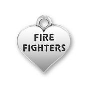 Fire Fighters Heart Fireman Sterling Silver Charm