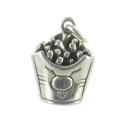 Large French Fries 3D Fast Food Sterling Silver Charm