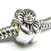 Sterling Silver FLOWER Clear CZ Crystal Bead f/ Pandora European Charm Bracelets Birthstone April