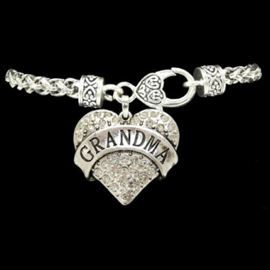 From the Heart Clear Crystal Rhinestone Heart Bracelet with GRANDMA Engraved Charm.Heavy Bracelet with Heart Lobster Clasp fits a Woman with a 19cm wrist.Rhinestones Sparkling!!!Perfect Gift for your Mother,or Grandmother!!! Wonderful Mother's Da ..