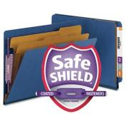 Smead Pressboard End Tab Classification Folders, Letter, Six-Section, Dark Blue, 10/Bx