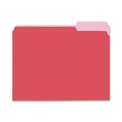 Two-Tone File Folders, 1/3 Cut Top Tab, Letter, Red/Light Red, 100/Box