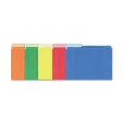 Interior File Folders, 1/3 Cut Top Tab, Letter, Bright Assortment, 100/Box