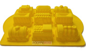Silicone TRAIN Mould (9 Cavity) For Arts and Crafts & Baking. By POLYMEROSE T.M.