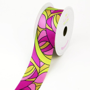 LUV Ribbons Satin Groovy Retro Print Ribbon, 3.8cm , Pink/Hot Pink