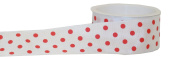 The Gift Wrap Company Sophisticated Spots 3.8cm Wired Edge Ribbon, White and Red