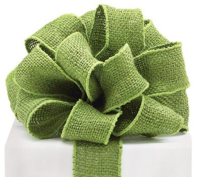#16 Green Burlap Wired Ribbon