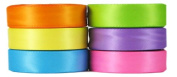 Hip Girl Boutique 30yd(6 x 5yd) 1cm Satin Ribbon-Double Face--Bright