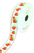LUV RIBBONS Fabric Ribbon by Creative Ideas, 2.2cm , Grosgrain Strawberry Fruits, White