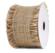 Burlap Ribbon 6.4cm X10Y Raw Edge Natural Wired