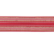 Sheer Red Corsage Ribbon with Satin & Iridescent Stripes - 1.6cm W x 20 Yards