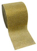 Gold Diamond Rhinestone Mesh Ribbon, Wedding Ribbon, Nappy Cake Ribbon, 12cm x 10 Yards, 24 Row, 1 Roll