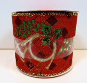 Jo-ann's Holiday Inspirations Ribbon,French Horn,red Plaid,mistletoe,6.4cm x 12ft.