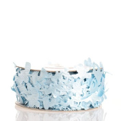 2.5cm Wide Pale Blue Satin Ribbon with Baby Shape Cutouts for Baby Shower Decoration and Gifts - 2 Spools - 25 Yards Each