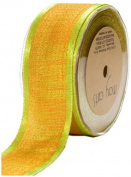 May Arts 3.8cm Wide Ribbon, Lime and Orange Textured