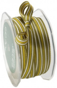 May Arts 1cm Wide Ribbon, Grey and Olive Grosgrain Stripes