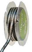 May Arts 0.6cm Wide Ribbon, Black Satin with Silver Centre