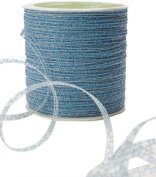 May Arts 0.3cm Wide Ribbon, Light Blue Curly Sparkling