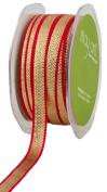 May Arts 1cm Wide Ribbon, Gold Metallic with Red Edge