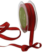 May Arts 1.3cm Wide Ribbon, Red Grosgrain with Green Stitches