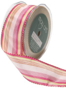 May Arts 3.8cm Wide Ribbon, Fuchsia and Parrot Green Stripes