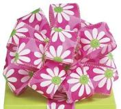 Pink Daisies & Dots # 9 Satin Wired Ribbon