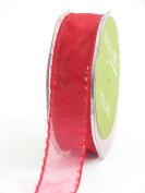 May Arts 2.5cm Wide Ribbon, Red Sheer with Tinsel Edge