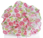 Pink and Green Dots a Lot on White Sheer Wired Ribbon #9 3.8cm X 20 Yards