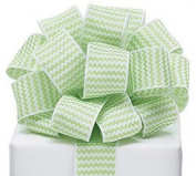 Zig Zag Chevron Ribbon Green & White #9 Wired Woven, 3.8cm w X 20 Yard Roll