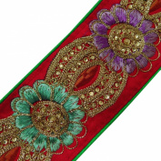 Royal Red Trim Simulated Stones Sari Lace Crafting Embroidered Dress Tape 1 Yard