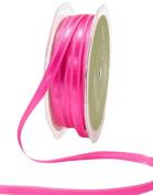 May Arts 0.6cm Wide Ribbon, Fuchsia Satin with Centre Band