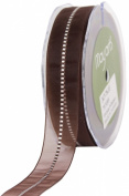 May Arts 2.2cm Wide Ribbon, Brown Sheer with Satin Stitches