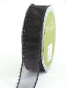 May Arts 2.5cm Wide Ribbon, Black Sheer with Tinsel Edge