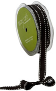 May Arts 1.3cm Wide Ribbon, Black Grosgrain with White Stitches