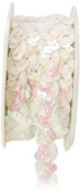 May Arts 1.6cm Wide Ribbon, Iridescent White Sequins