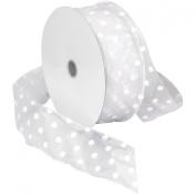 Morex Ribbon Wired Sheer Dots Fabric Ribbon, 5.1cm by 50-Yard Spool