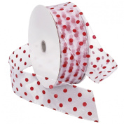 Morex Ribbon Wired Sheer Dots Fabric Ribbon, 5.1cm by 50-Yard Spool