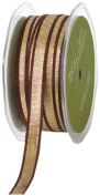 May Arts 1cm Wide Ribbon, Gold Metallic with Brown Edge