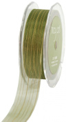 May Arts 2.5cm Wide Ribbon, Moss Green Sheer with Gold Stripes