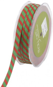 May Arts 1cm Wide Ribbon, Red and Green Grosgrain Stripe