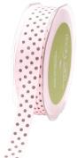 May Arts 1.6cm Wide Ribbon, Pink and Brown Grosgrain Polka Dot
