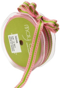 May Arts 1cm Wide Ribbon, Pink and Parrot Green Stripes