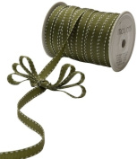 May Arts 1cm Wide Ribbon, Olive Grosgrain